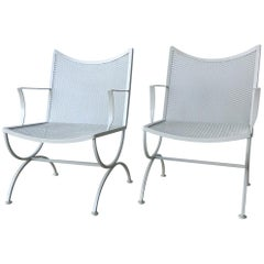 Set of Two Midcentury Bob Anderson Painted Wrought Iron Patio Armchairs