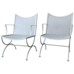 S/2 Mid-Century Modern Bob Anderson Refinished Wrought Iron Patio Armchairs