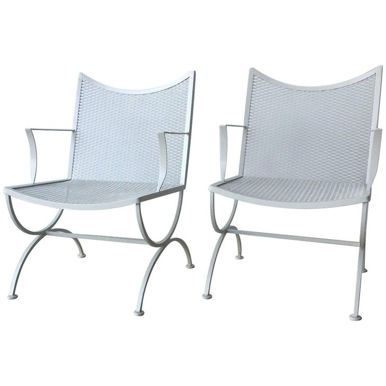 S 2 Mid Century Modern Bob Anderson Refinished Wrought Iron Patio Armchairs For