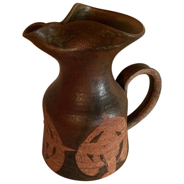 Midcentury Vintage Ceramic Pitcher Pottery Art Organic Design
