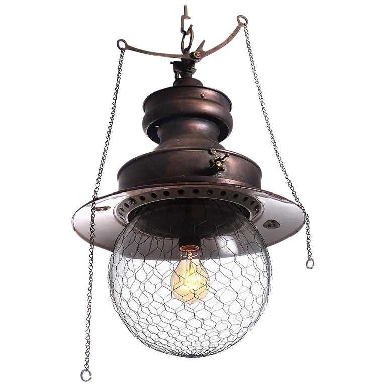 Showy Electrified Copper Gas Lamp For Sale