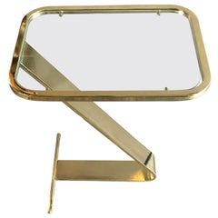 Design Institute of America Brass and Glass Side Table