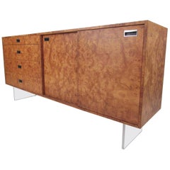 Harvey Probber Burl and Lucite Credenza