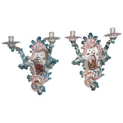 Large Pair of German Rococco Style  Porcelain Two-Light Sconces