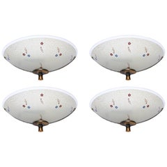 Set of 4 English Art Deco Enameled Frosted Glass and Bronzed Metal Sconces