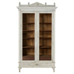 Late 19th Century French Louis XVI Style Painted Bibliotheque or Bookcase