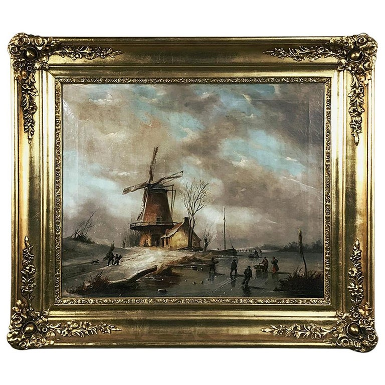 "Antique Framed Oil Painting on Canvas ""Wintry Landscape with Windmill"""