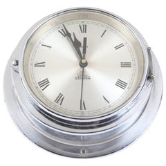Ship's Chrome Wall Clock by Viking, 1970s, Denmark