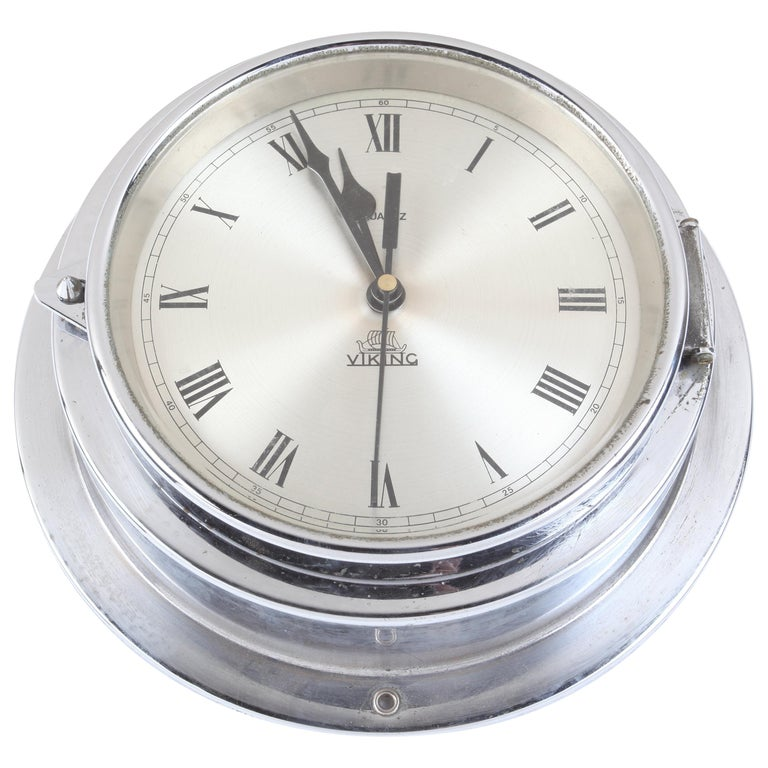 Ship's Chrome Wall Clock by Viking, 1970s, Denmark For Sale