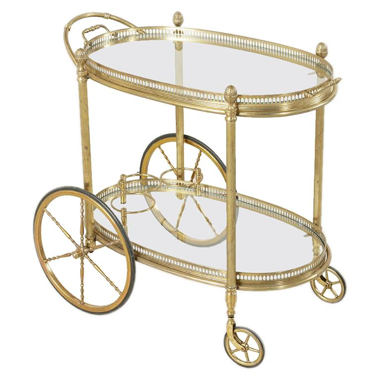 Midcentury French Maison Jansen Brass Bar Cart Glass Shelves and Removable Tray 1