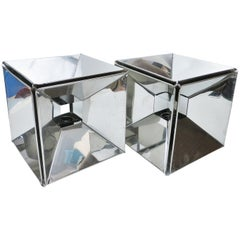 Pair of Kinetic Cube Chrome Lamps of the 1970s