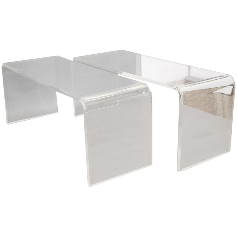 1 of 2 Clear Mid-Century Modern Lucite Benches