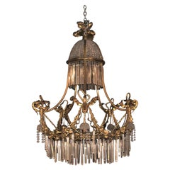 Louis XVI Style Russian Neoclassical Doré Bronze and Crystal Chandelier