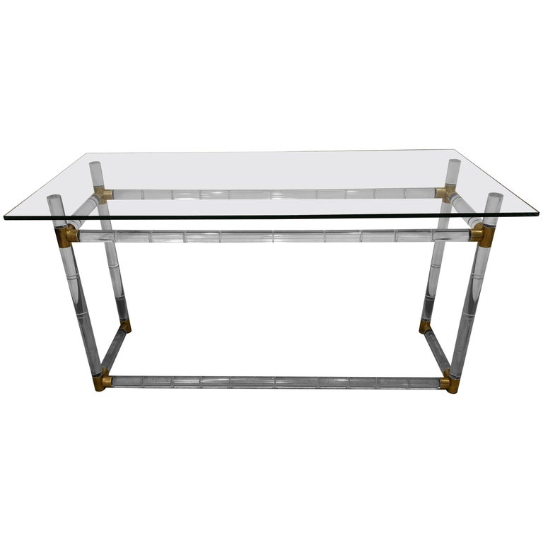 Mid-Century Modern Charles Hollis Jones Brass, Lucite & Glass Console / Desk