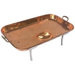 Large English Rectangular Copper Serving Tray or Platter on Steel Feet
