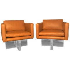 Midcentury Vintage Pair of Leather and Lucite Club Chairs