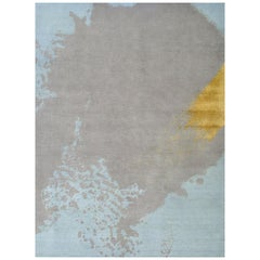 Abstract Rug, Hand Knotted, Soft Wool, Contemporary, Light Blue Gray Gold