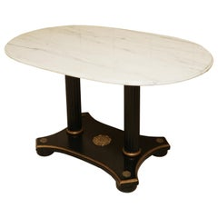 Marble and Ebonized Oval Centre Table