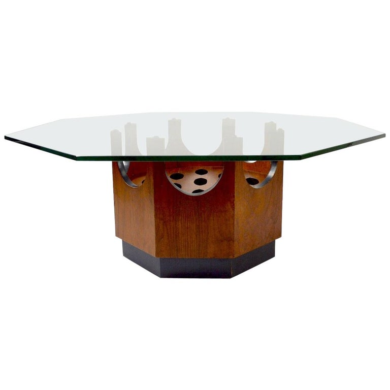 Octagonal Glass Top Table attributed to Probber For Sale