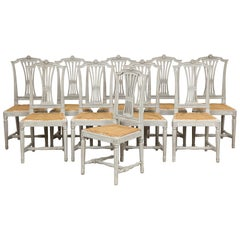 18th Century Gustavian Dining Chairs, Set of 10, Swedish, circa 1790