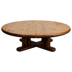 French Pine Round Coffee Table with Cross Leg Base