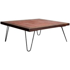 French Rustic Square Tile Table with Wood Frame on Hairpin Legs