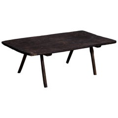 French Rustic Dark Wooden Low Table with Four Legs