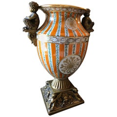 Large Porcelain Urn with Brass Handles and Base, Orange, White and Gold