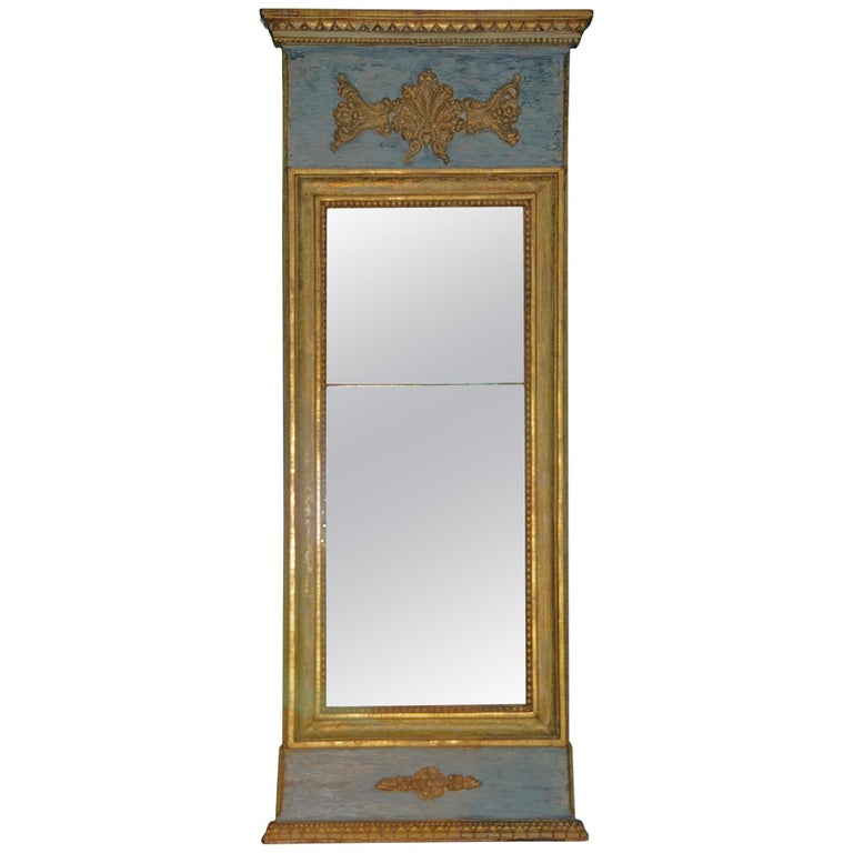 Swedish Gustavian Mirror, Giltwood and Blue Paint, Origin: Sweden, circa 1790