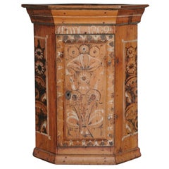 19th Century Dalarna Corner Cabinet, Sweden Inscribed and Dated, Anno 1830