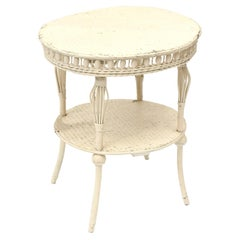 Victorian Round Wicker Two Tier Side Table by Heywood-Wakefield Co.