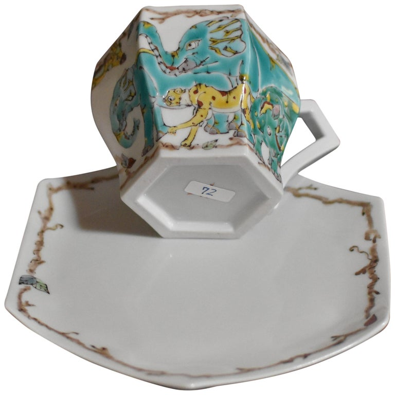 Contemporary Kutani Porcelain Hand-Painted Cup and Saucer by Master Artist