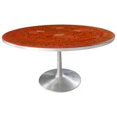 Aluminium Dining Table Hand-Painted By Susanne Fjeldsøe for Poul Cadovius, 1960