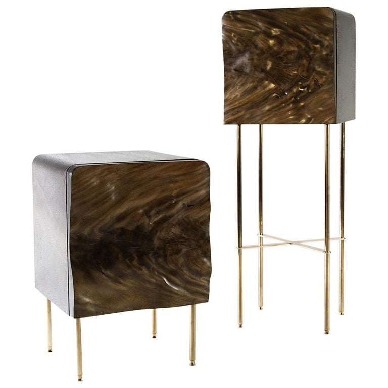 African Mahogany Side Table Cabinets with Copper Plated Steel Legs