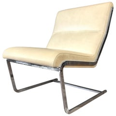 Poul Nørreklit Leather and Chrome Cantilevered Lounge Chair