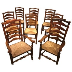 Harlequin Set of 8 Early 19th Century Ash and Elm Ladder Back Dining Chairs