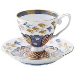 Contemporary Gilded Ko-Imari Blue Porcelain Cup and Saucer Hand-Painted