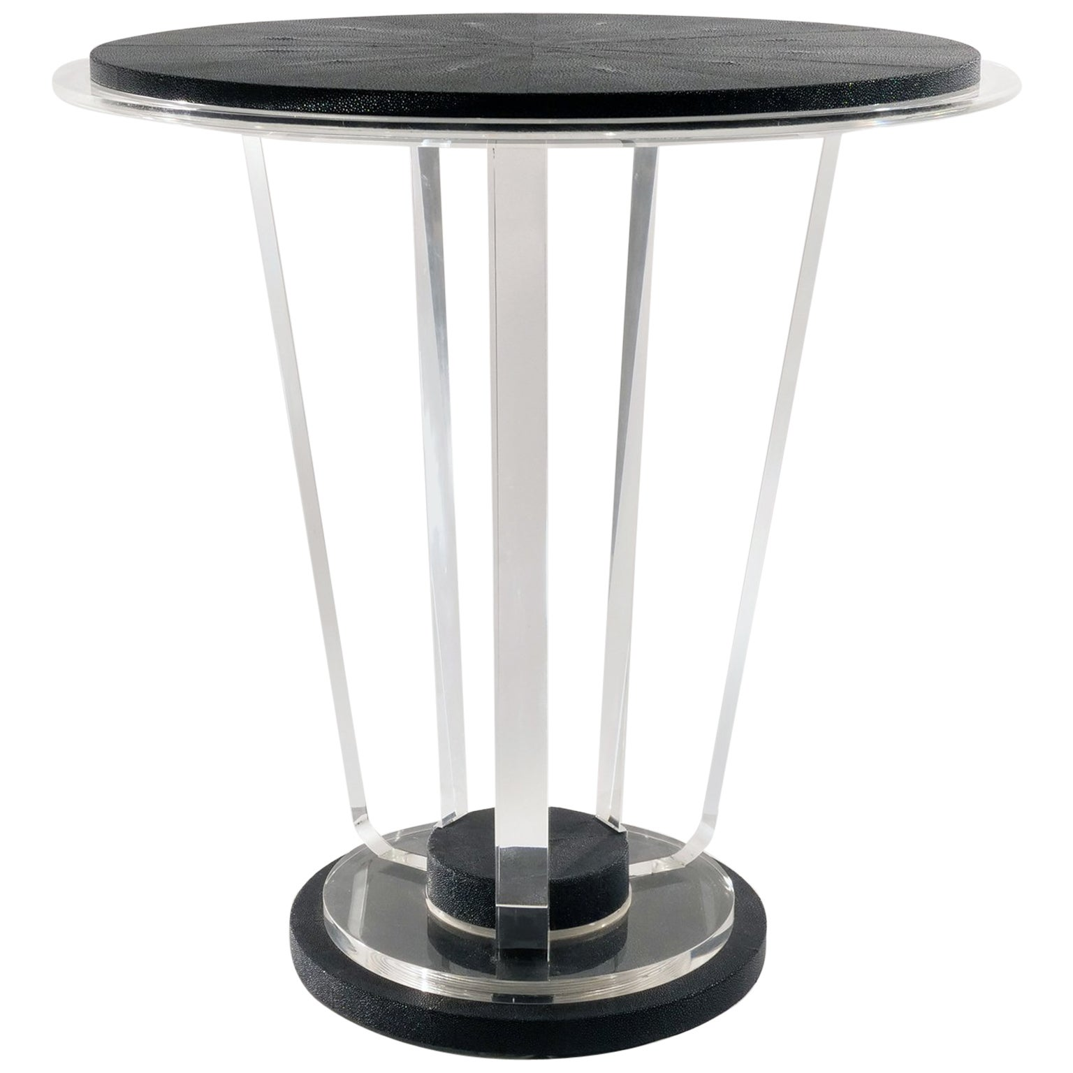 Art Deco Acrylic and Shagreen Round Modern Side Table, in Stock