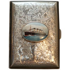 Solid Sterling Silver Ship Nautical Cigarette Case 53.2 Grams Nielloware