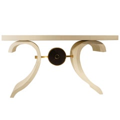 Leather Console in Faux Crocodile, Brass and Shagreen, in Stock