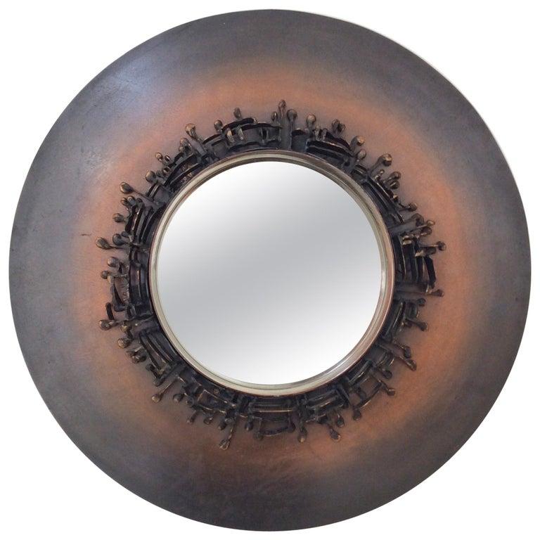 Decorative Round Mirror, circa 1970, France For Sale