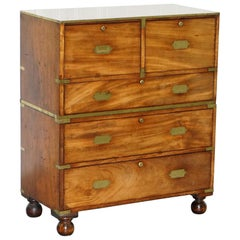 Solid Walnut Military Officers Campaign Chest of Drawers Brass Trim, circa 1870