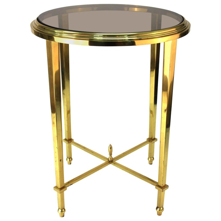 Modern Classical Style Round Side Table with Smoked Glass Top