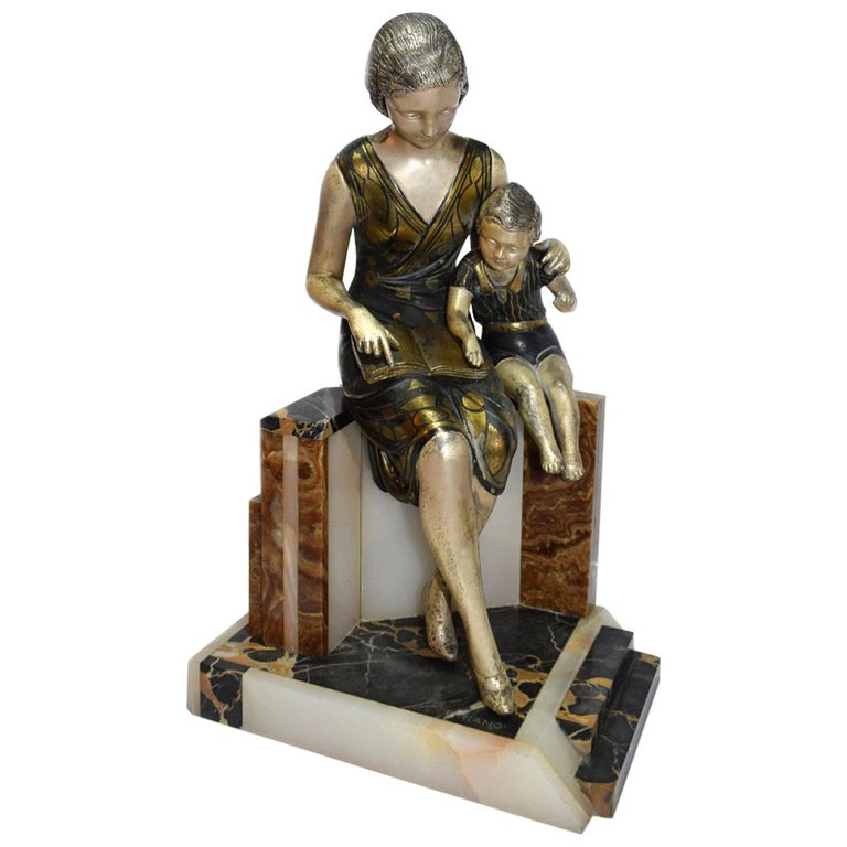 """Large Art Deco Sculpture """"Mother Child"""" from Uriano"""