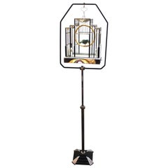 Art Deco Birdcage with Glass and Chrome Accents