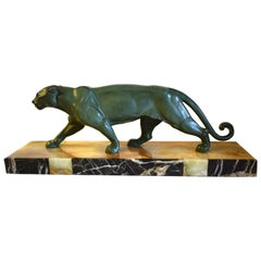 Art Deco Panther Figure on an Onyx Base, 1930s