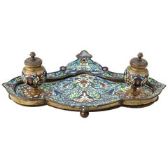 French Moorish Style Champlevé Enameled Bronze Double Inkwell Pen Tray