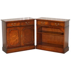 Pair of Yew Wood Bradley Furniture England Bookcases Cabinet Drawers