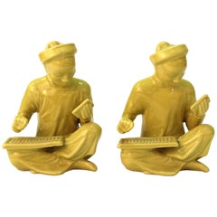 Chinese Yellow Ceramic Seated Mandarin Statues