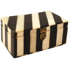 Midcentury Decorative White Bone and Black Striped Box